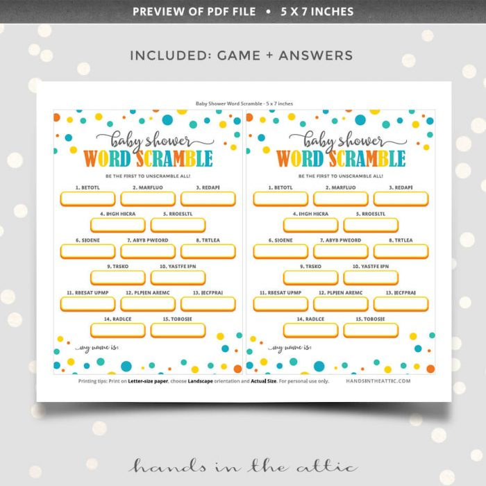 Baby Shower Word Scramble Printable