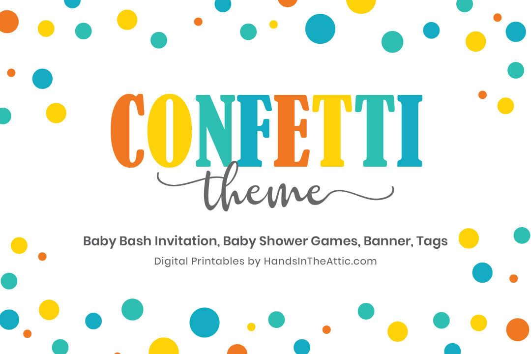 Confetti Theme Baby Shower Games Invitation