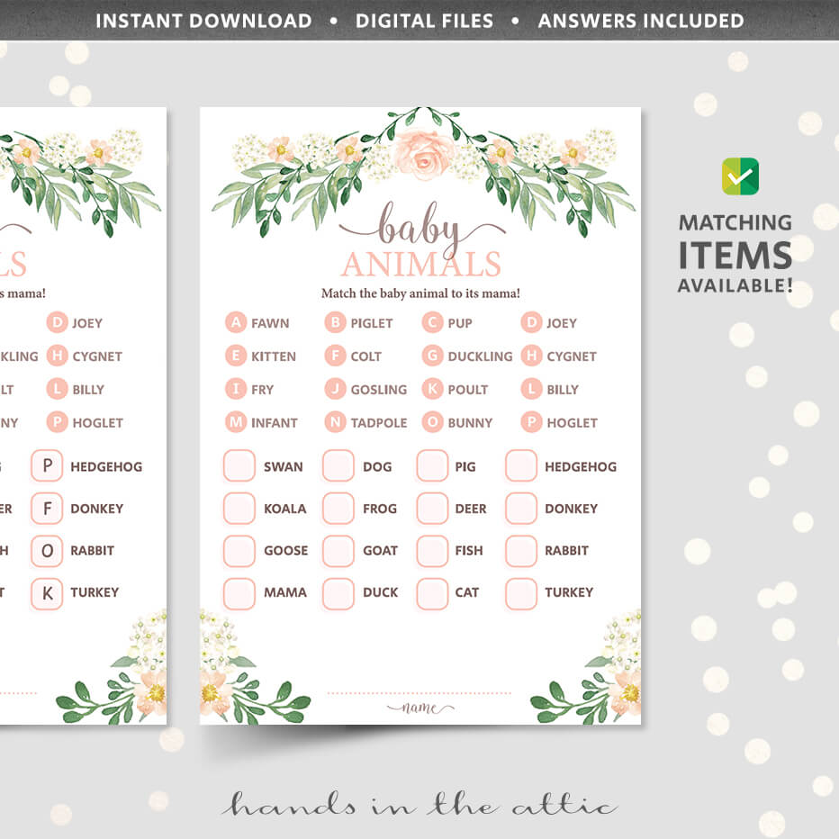 Floral Baby Animals Baby Shower Game Printable Stationery