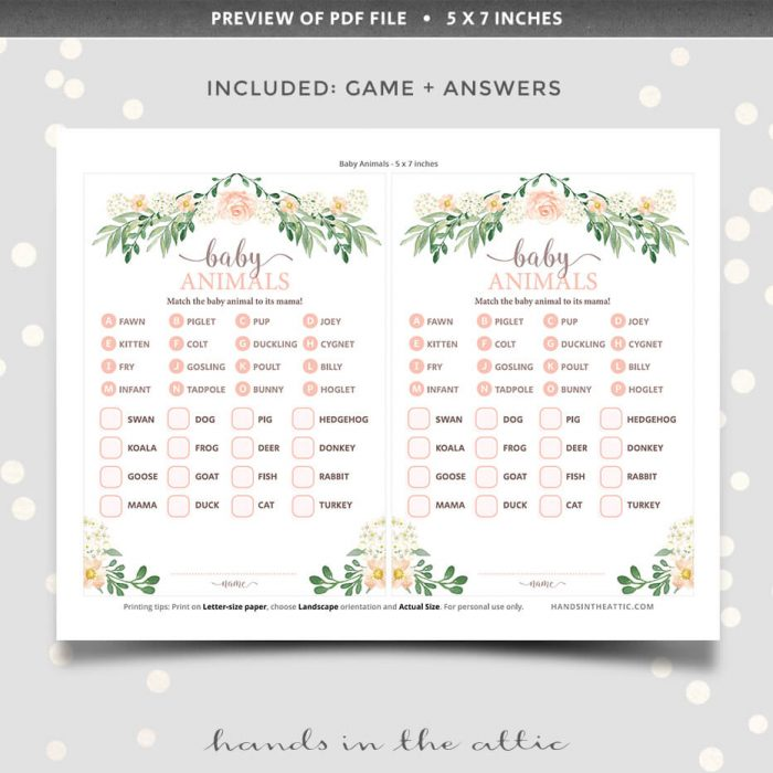 Floral Baby Shower Baby Animals Printable Game