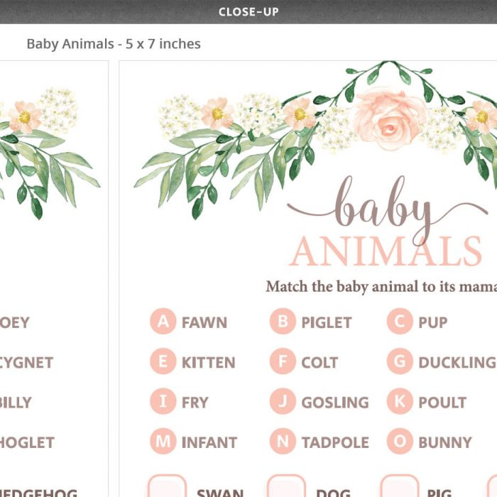 Floral Baby Shower Baby Animals Whos My Mama