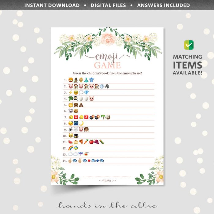 Floral Baby Shower Emoji Game