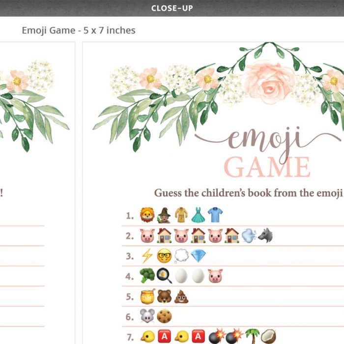 Floral Baby Shower Emoji Game Gender Neutral
