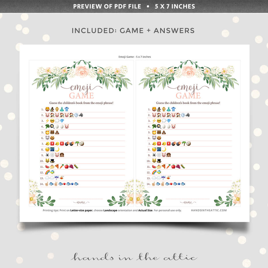 Floral Emoji Game Baby Shower Game Hands In The Attic