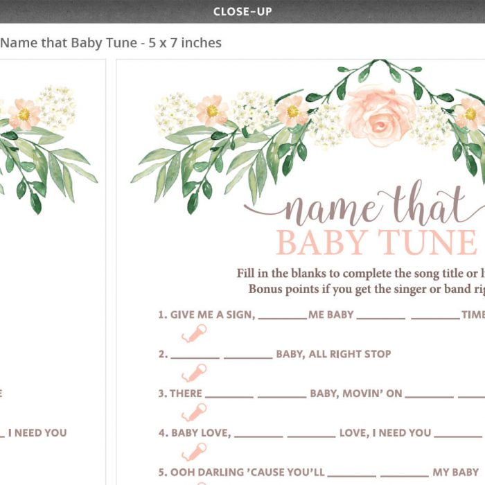 Floral Baby Shower Printable Lyrics Game