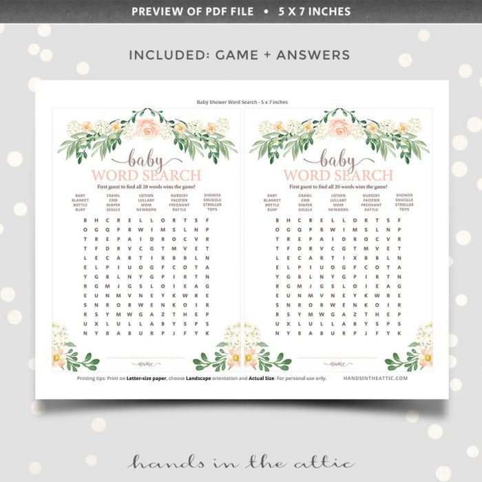 Floral Baby Shower Printable Word Search Game