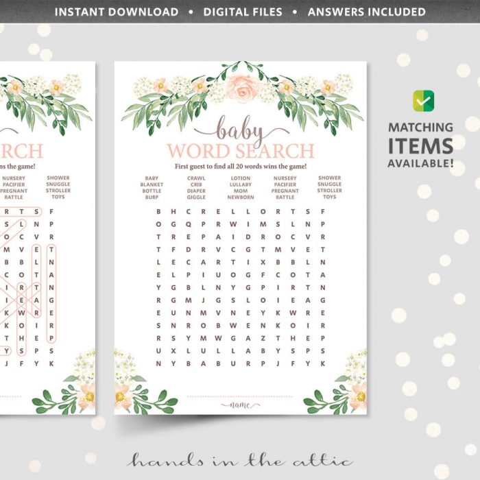 Floral Baby Shower Word Search Game