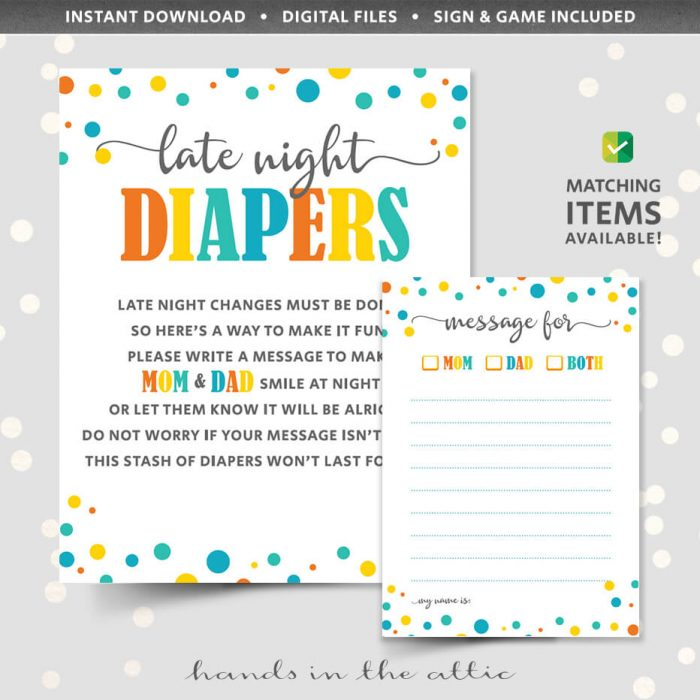 Late Night Diapers Printable Download