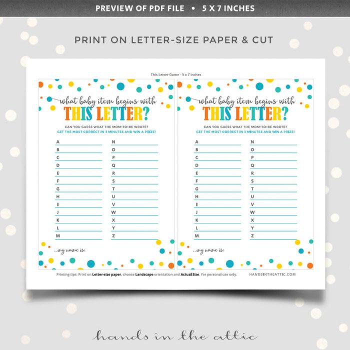 Letter Game Instant Printable Download
