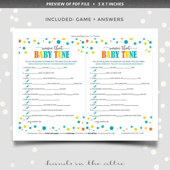 Name That Tune Printable Game