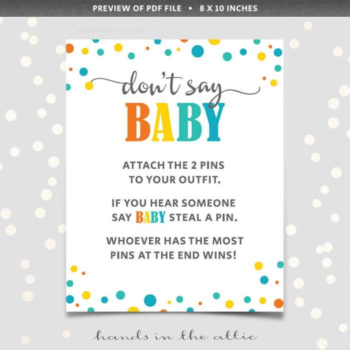 Printable Dont Say Baby Pin
