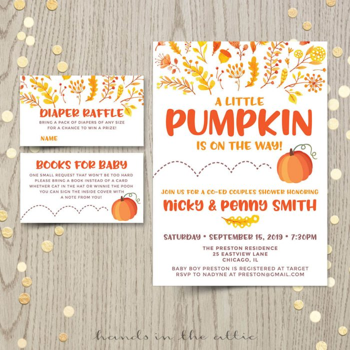 Pumpkin Baby Shower Invitatioin