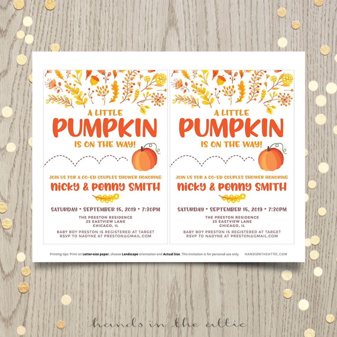 Little Pumpkin Baby Shower or First Birthday Invitation   Printable ...