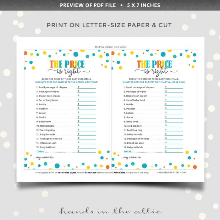 The Price Is Right Baby Shower Pdf Download