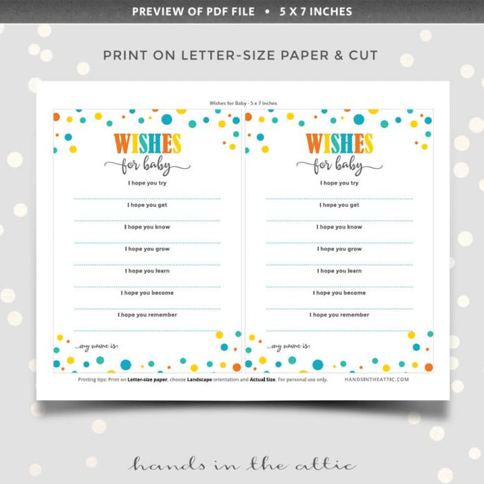 Wishes For Baby Shower Game Printable