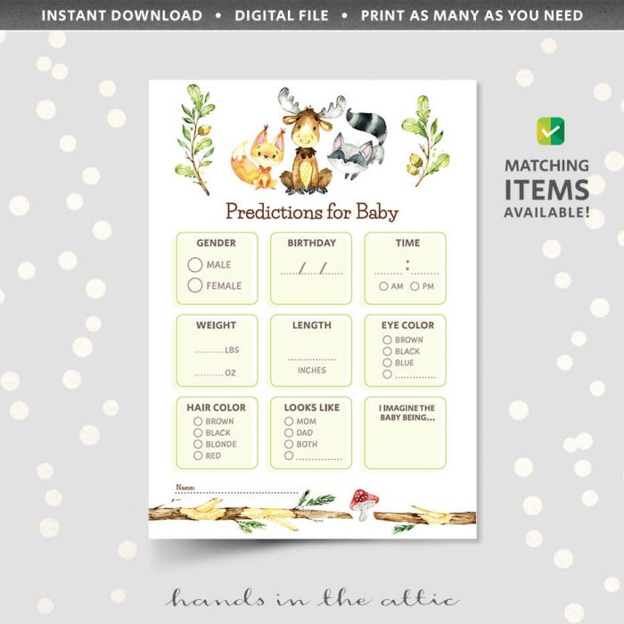 Baby Predictions Woodland Animals Theme