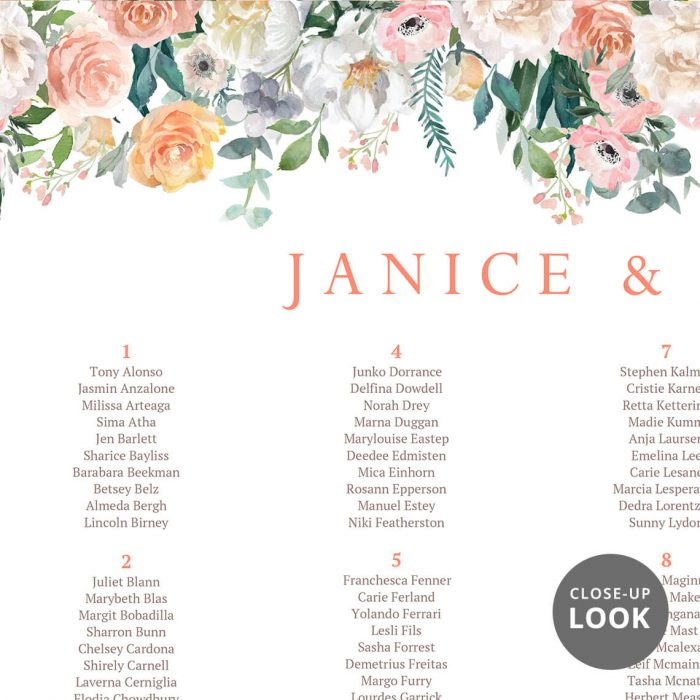 Floral Drop Wedding Seating Chart P3