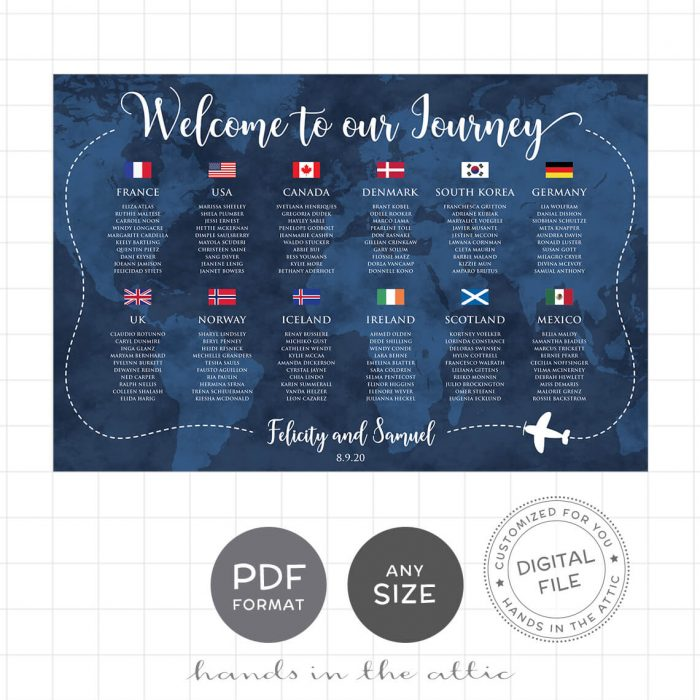 Travel Theme Wedding Seating Chart Flags