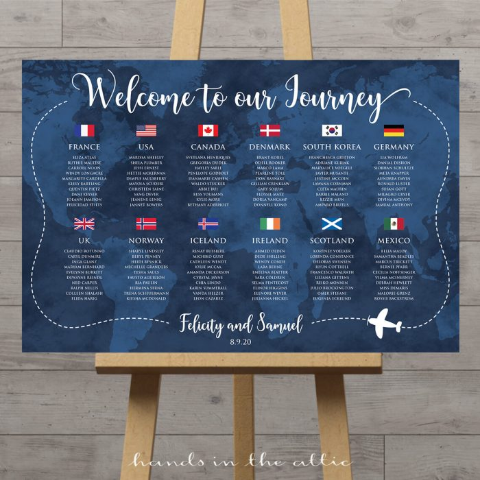 Travel Theme Wedding Seating Chart With Flags