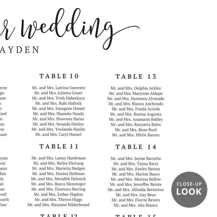 Welcome Wedding Seating Chart P3