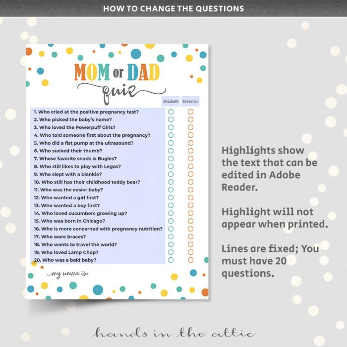 Mom Or Dad Quiz Printable