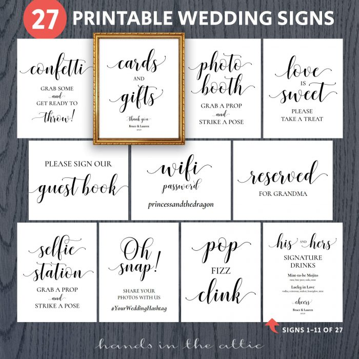 Printable Wedding Signs Bundle