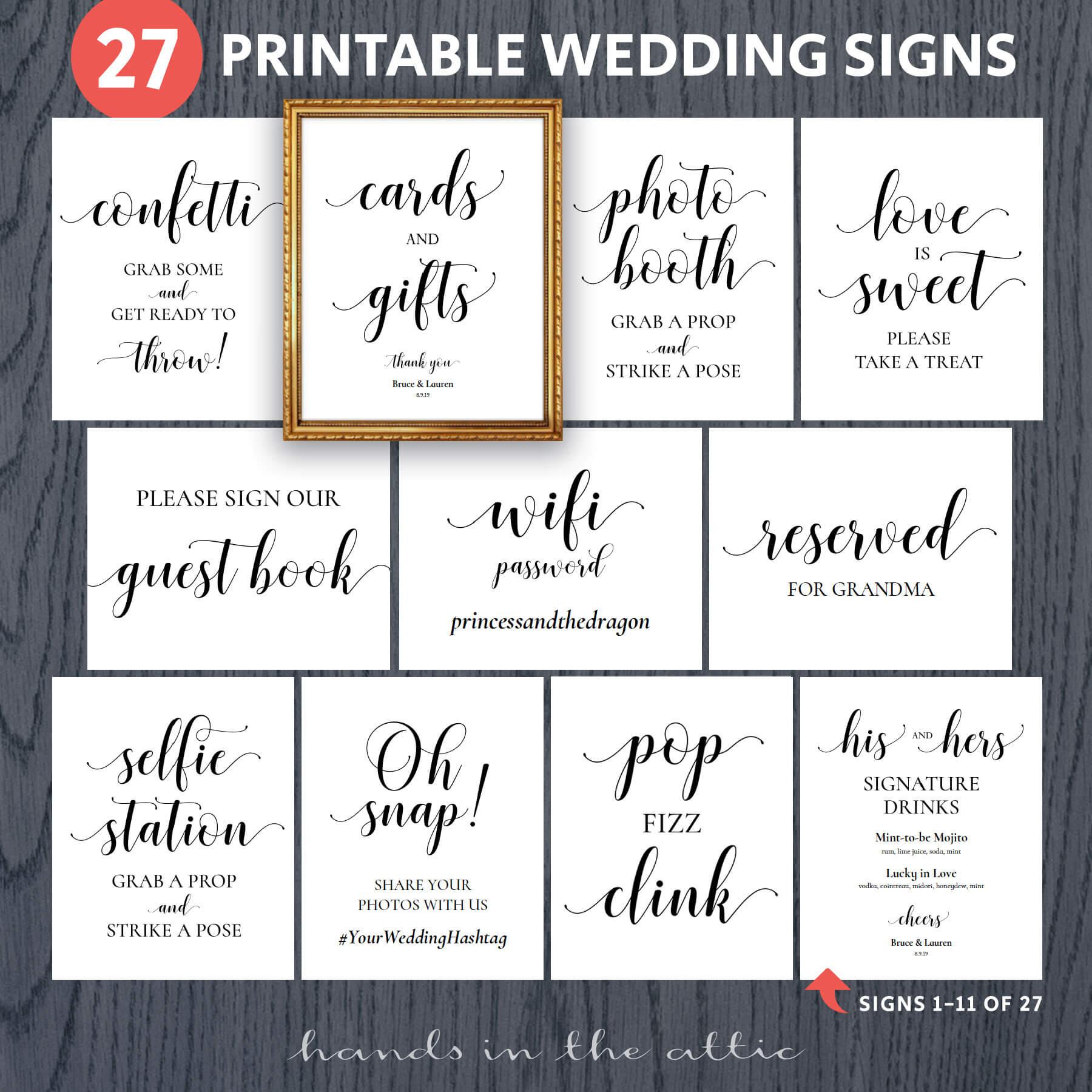 Printable Wedding Signs  Bundle
