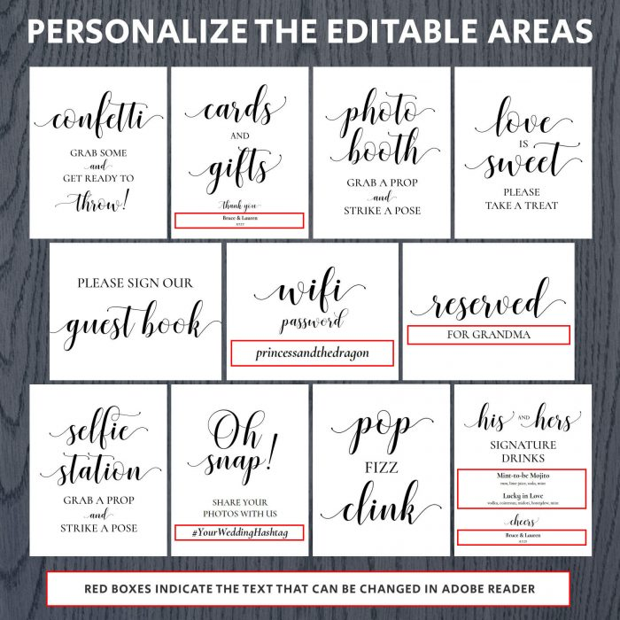 Printable Wedding Signs Editable