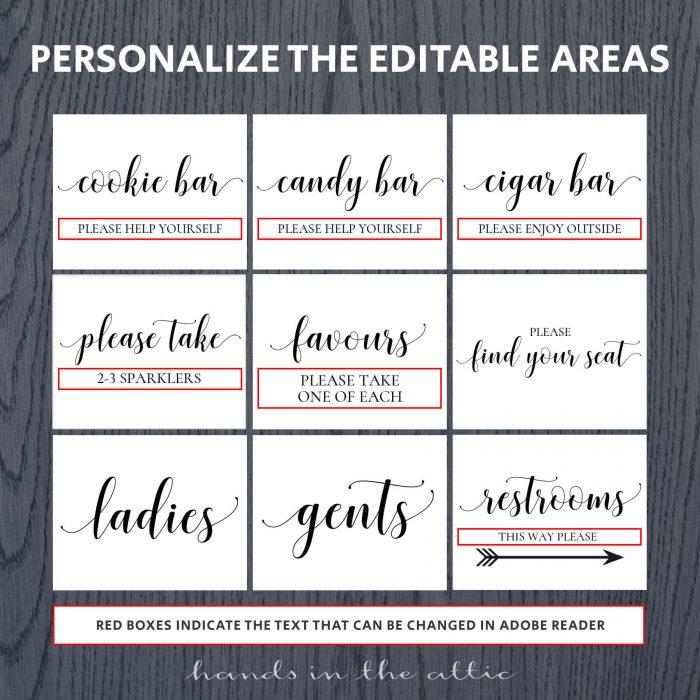 Printable Wedding Signs Pack