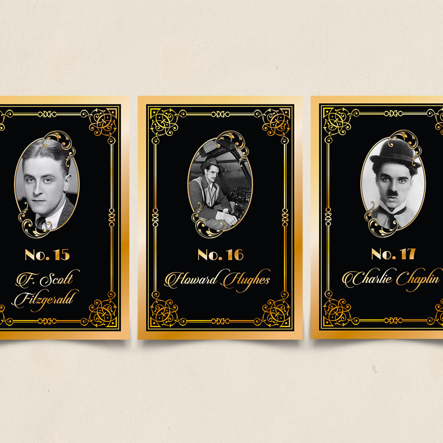Art Deco Table Cards With Photo F Scott Fitzgerald