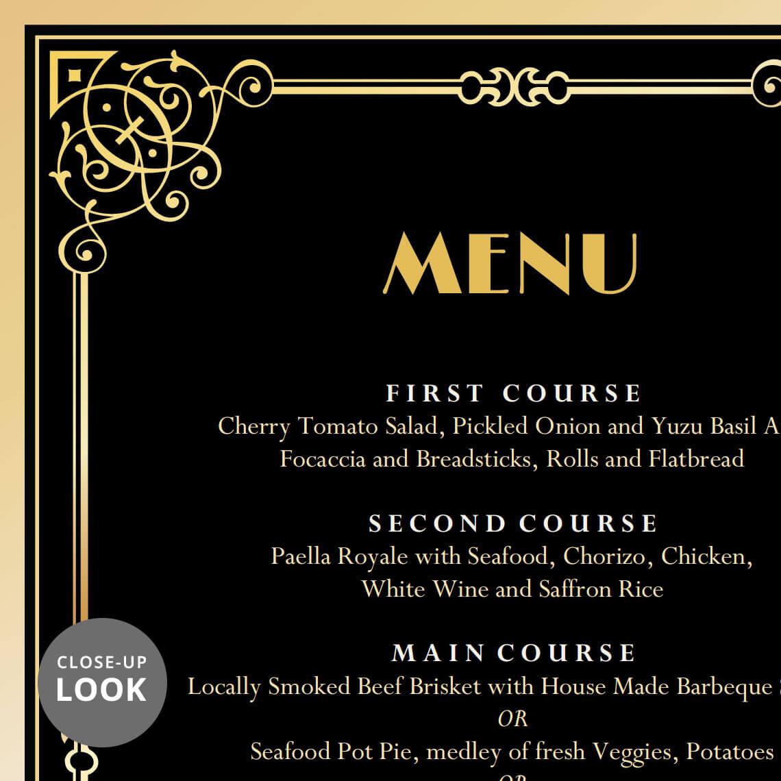 Great Gatsby Art Deco Wedding Menu Card | Wedding Menu Cards | Hands in the  Attic