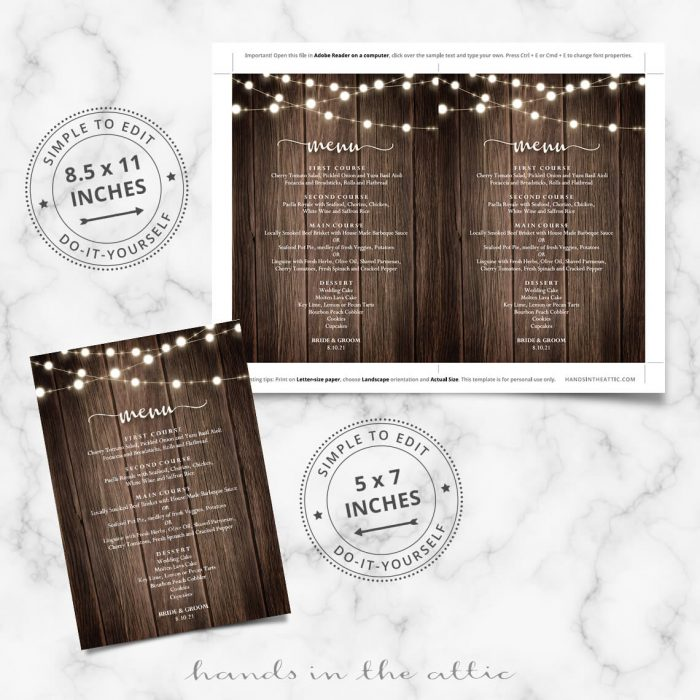 Printable Wooden Board Menu