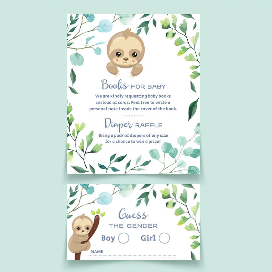 Sloth Baby Shower Guess The Gender