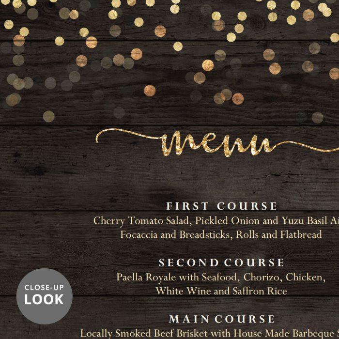 Wedding Food Menu Gold