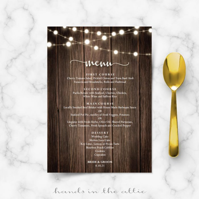 Wood Texture With Garland Lights Menu Card
