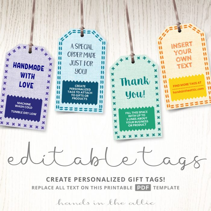 Gift Tags For Handmade Projects And Stitched Products