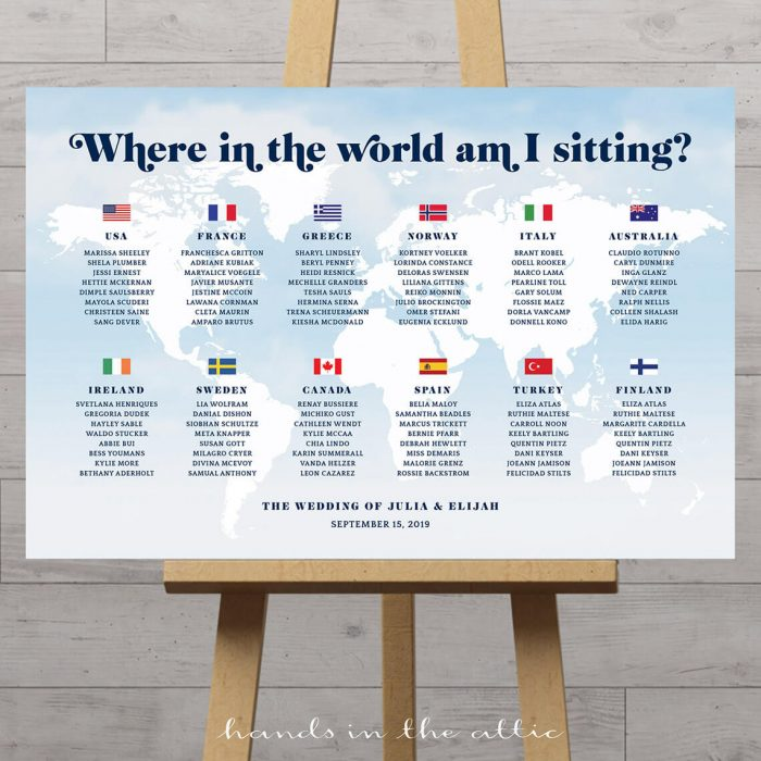 World Map Wedding Seating Chart