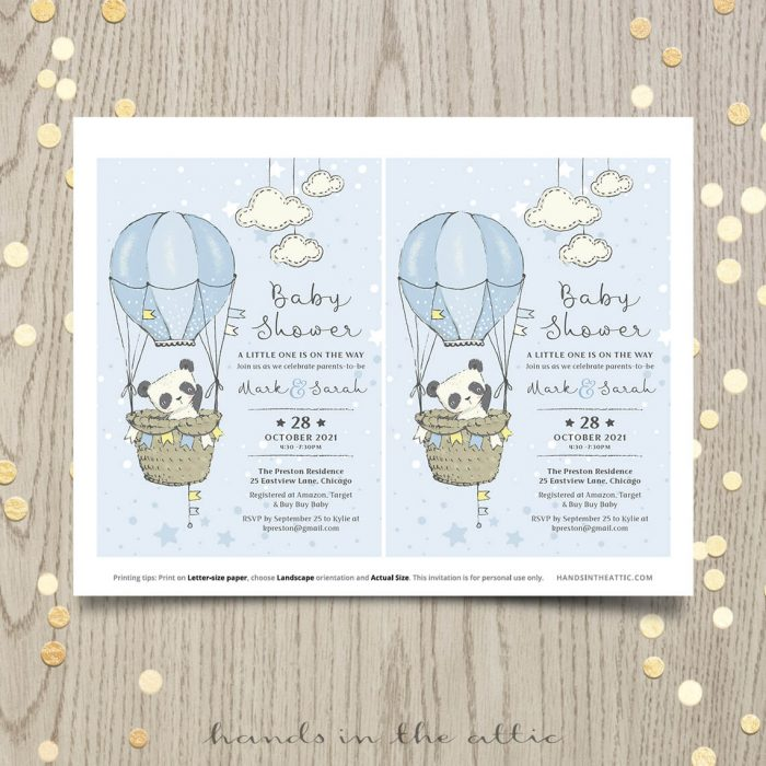 Baby Shower Invitation For A Boy Little Panda