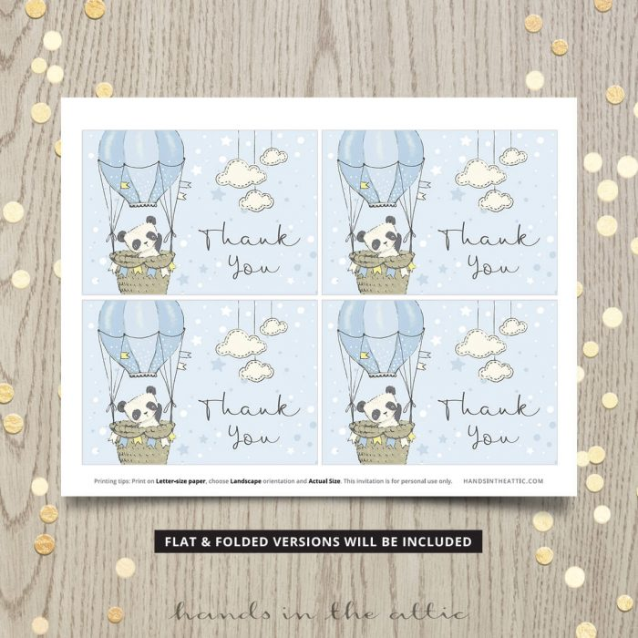 Blue Thank You Card Printables Panda Theme