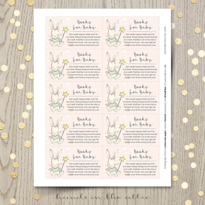 Bunny Theme Baby Shower Books Card