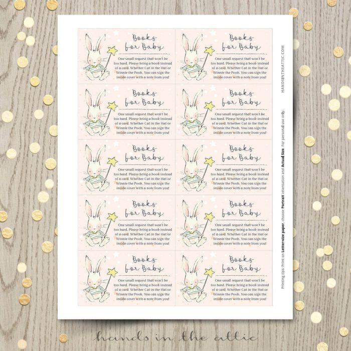 Bunny Theme Baby Shower Books Card