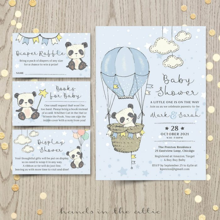 Little Panda Bear Baby Shower Invitation