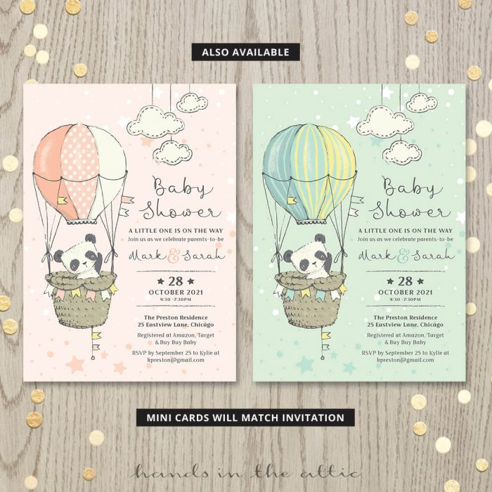 Printable Panda Theme Baby Shower Invitations