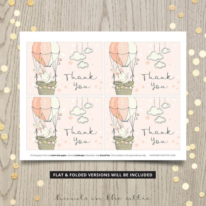 Printable Thank You Cards Little Bunny