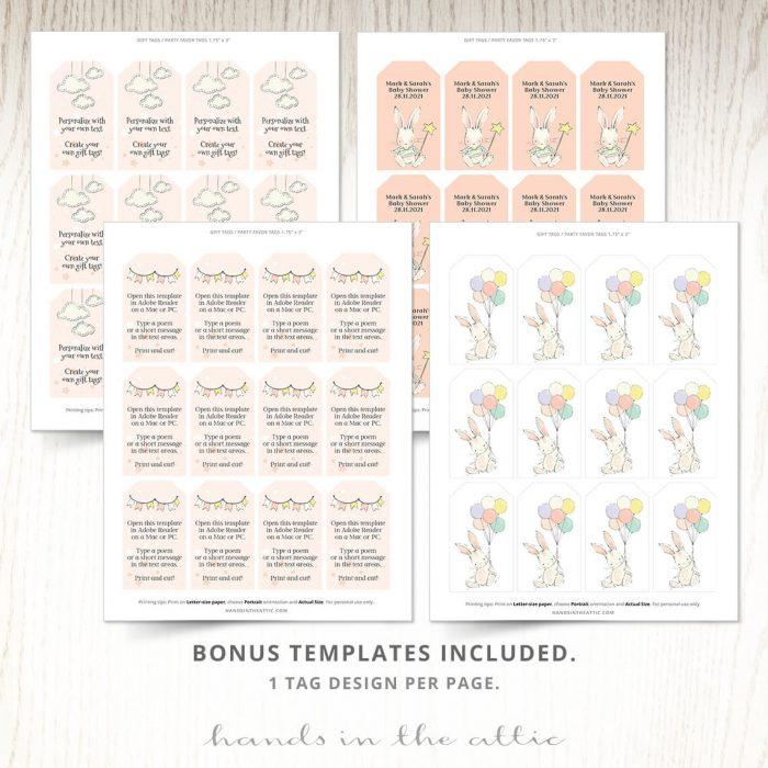 Sweet Baby Bunny Editable Gift Tags