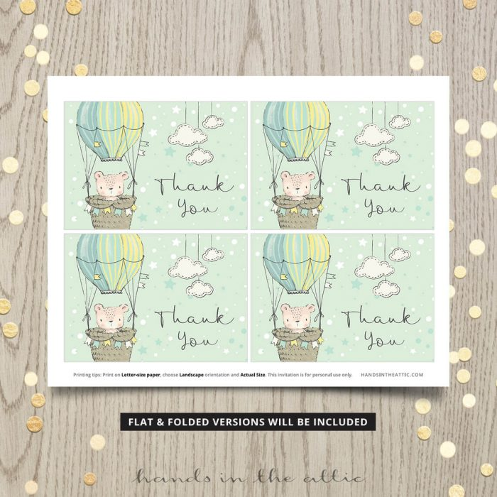 Teddy Bear Theme Thank You Card Digital