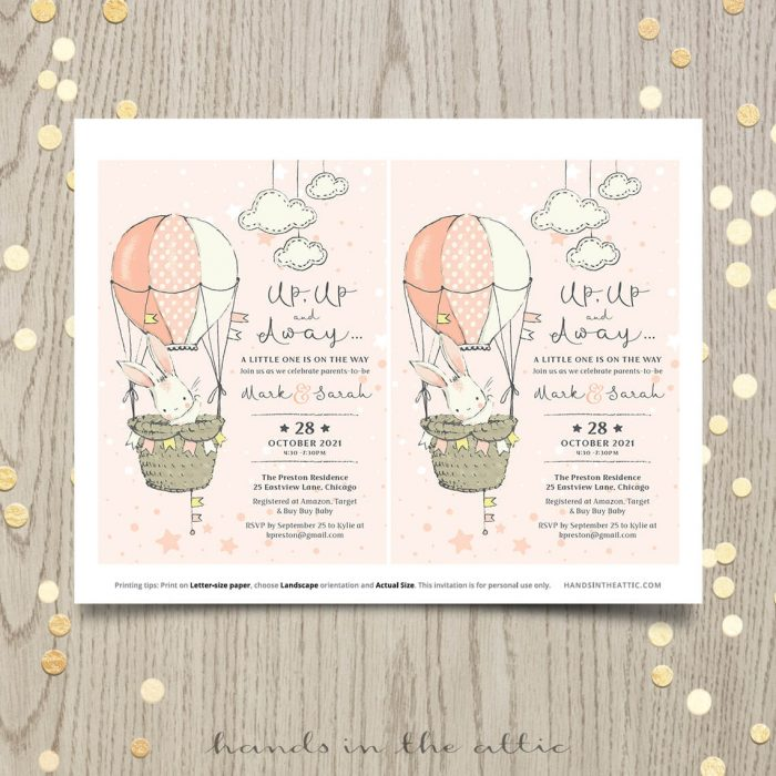 Up Up And Away Baby Shower Bunny Rabbit