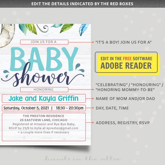 Animal Baby Shower Invitation Template