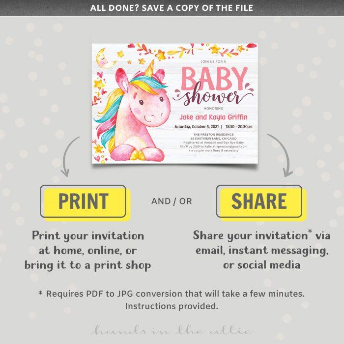 Baby Shower Invitation Unicorn