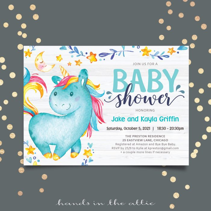 Blue Unicorn Baby Shower Invitation